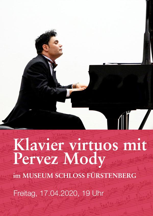 Plakat zur Bewerbung des Klavierkonzertes von Pervez Mody im Museum